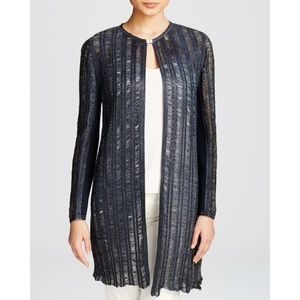 Elie Tahari Blue Laser Cut Lamb Leather Jacket S